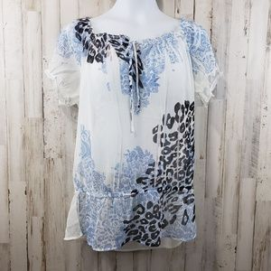 AB Studio Womens Top White Sheer Blue Floral